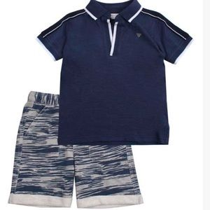 Tahari Navy Polo & Navy Heather Shorts
